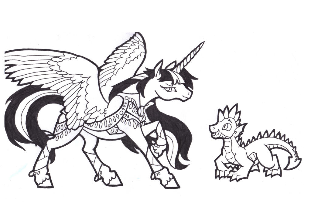 Could Get Used to This, Twilight Spike ink scrib by FoldawayWings