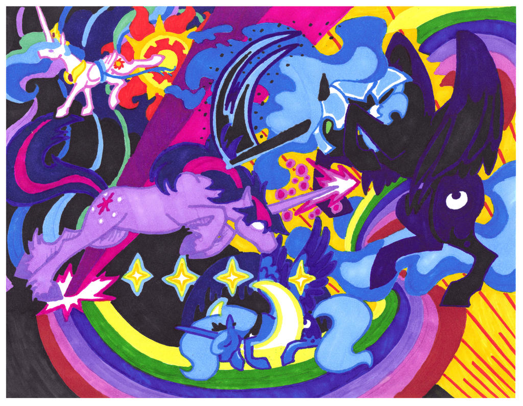 Challenge for Equestria Twilight Luna Celestia by FoldawayWings