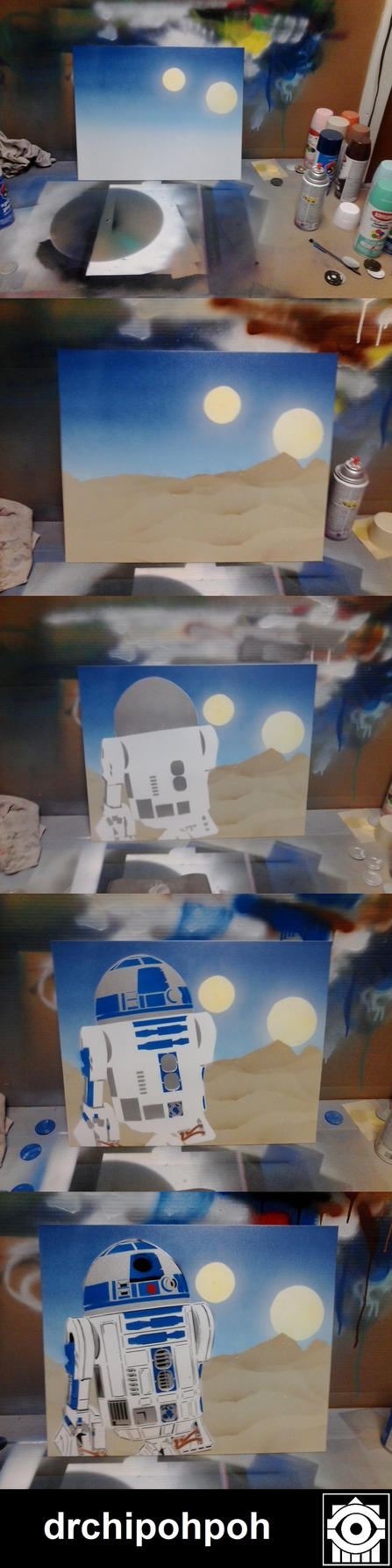 R2D2 Stencil Layer By Layer by drchipohpoh
