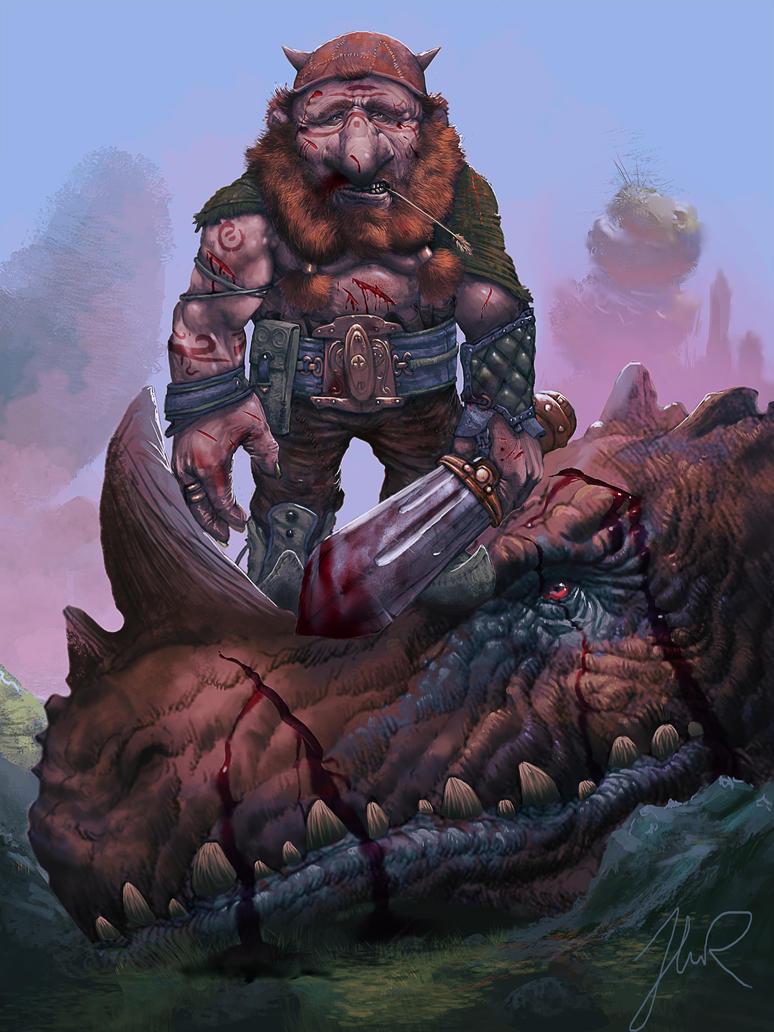 Dragonslayer Done - Grimwald Goldbristle by Djingo