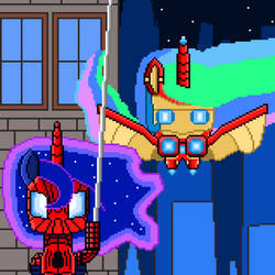 Spider-Mare and Iron Mare (pixel art)