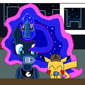 Luna and Pikachu Drinking Coffee (pixel art) by SuperHyperSonic2000