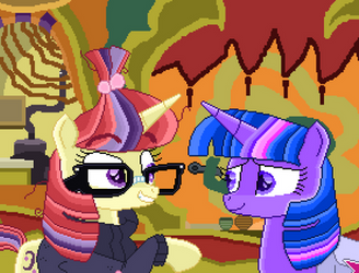 Twilight Sparkle and Moon Dancer (pixel art) by SuperHyperSonic2000