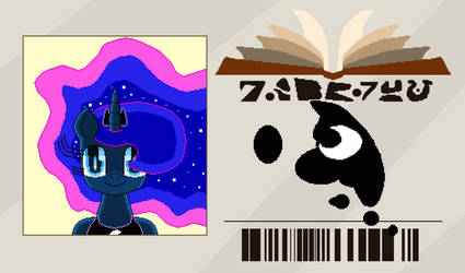 Princess Luna Library Card (pixel art) by SuperHyperSonic2000