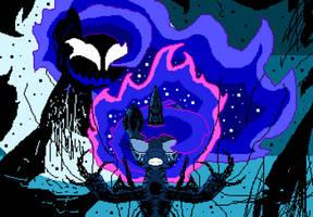 Princess Luna Facing her Nightmare (pixel art) by SuperHyperSonic2000