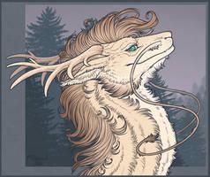 Comm | Line. Cream dragon by Polunoch