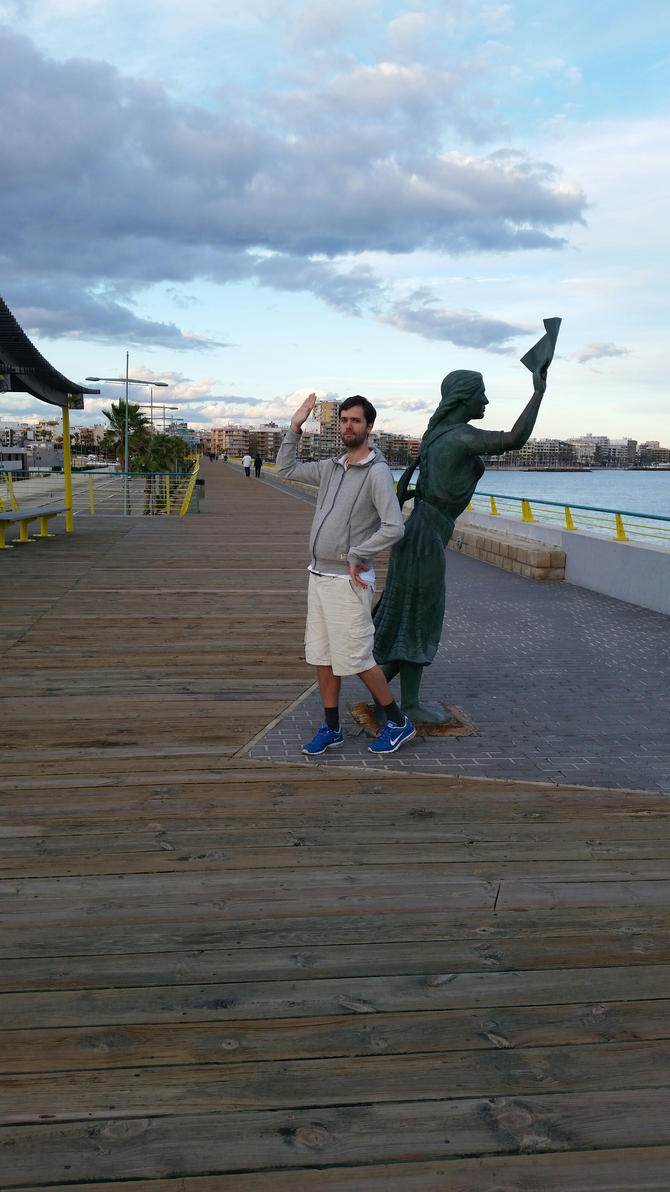Me and a female statue by EgonEagle
