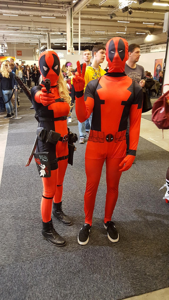 Female and male Deadpool by EgonEagle