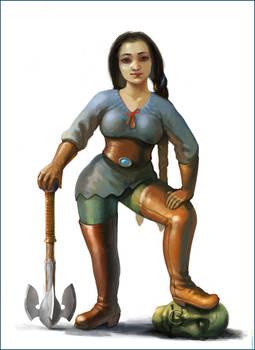 Dwarf Girl and goblin head