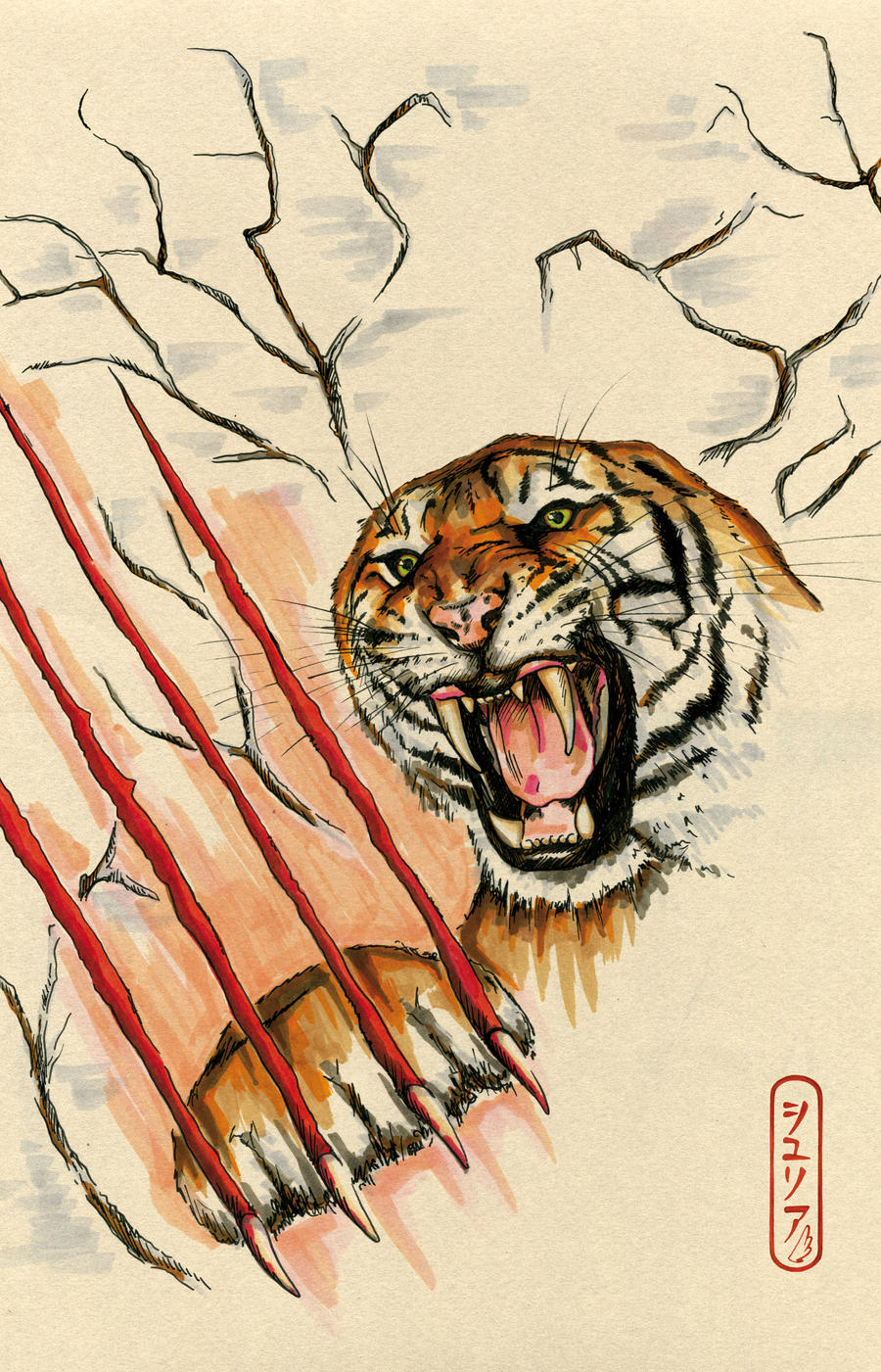 Angry tiger face - photo#26