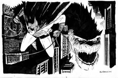 BATMAN AND GODZILLA by pfab