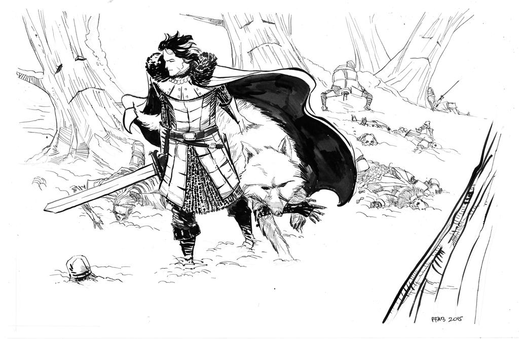 Jon Snow and Ghost by pfab