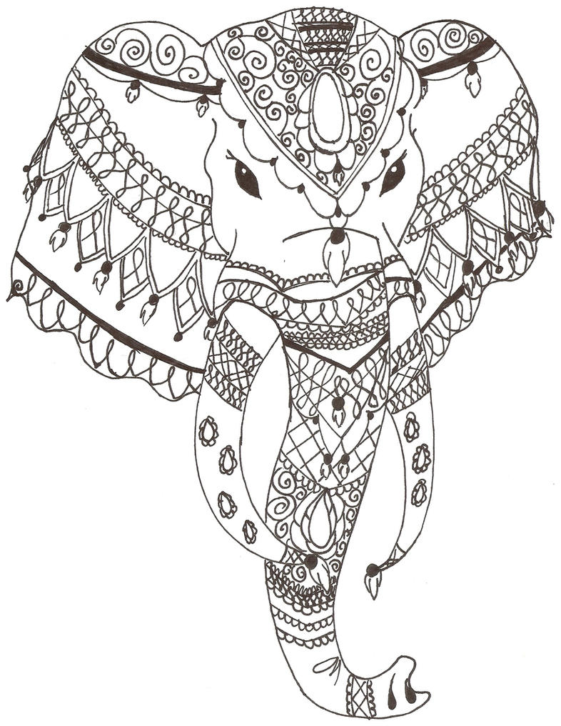 Indian Elephant Line Drawing Indian Elephant by Gra...
