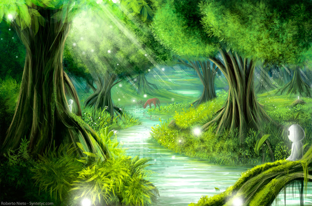 Anime Scenery Forest Forest Spirits by Syntetyc