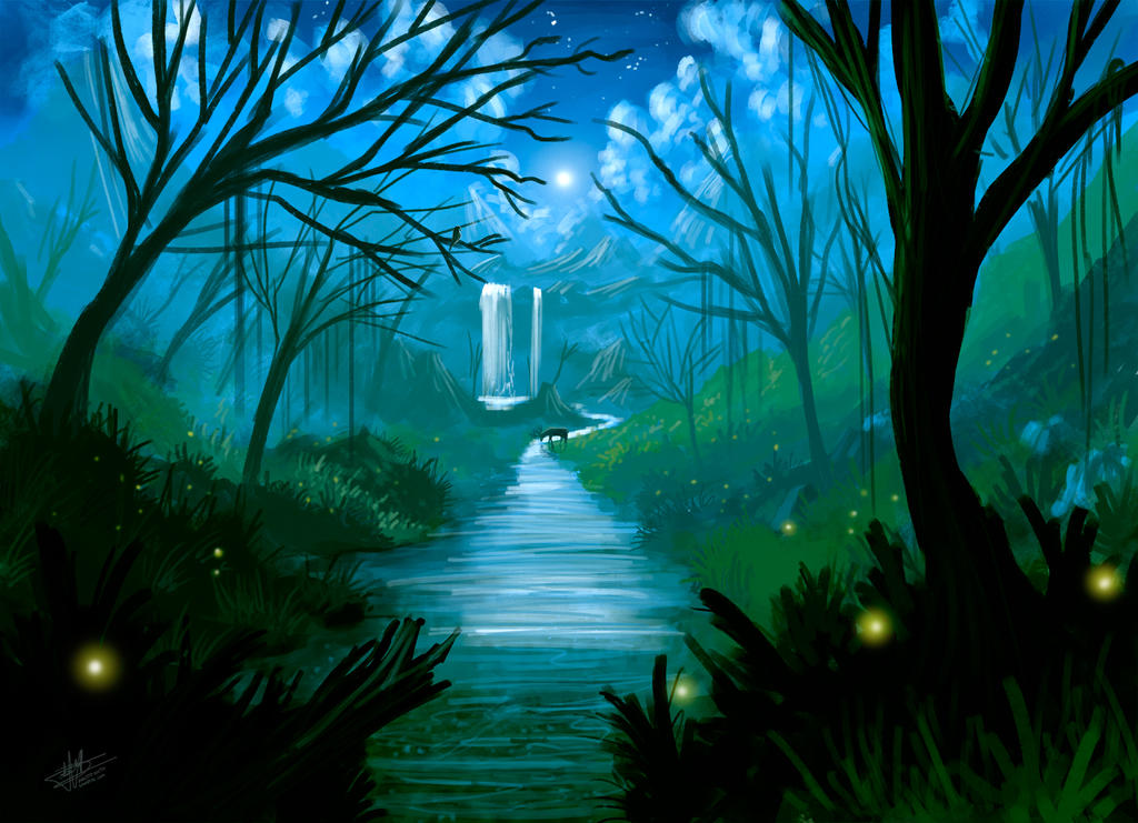 night river speed paint by syntetyc on deviantart