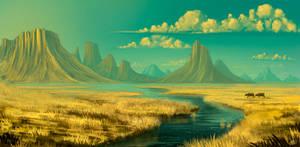 Sunset on savannah