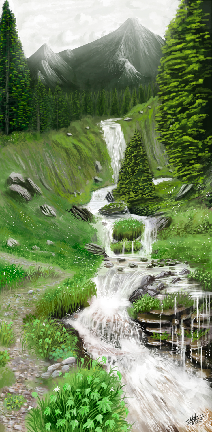 Waterfall forest by Syntetyc