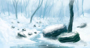 Snow river - speedpaint by Syntetyc