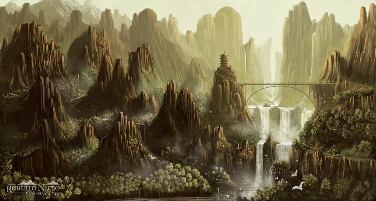 Waterfall Temple by Syntetyc