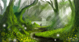 forest lake - speedpaint by Syntetyc