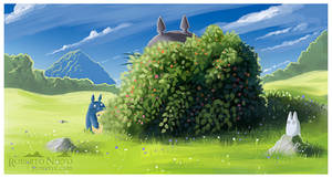 Study of a shrub, and Totoro family. by Syntetyc