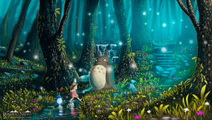 Totoro and Mei - Excursion by Syntetyc