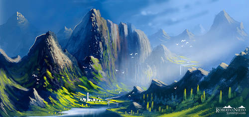 Mountains - speedpaint light practice by Syntetyc