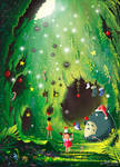 Totoro's Christmas Cave - greeting card
