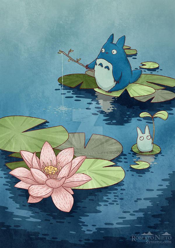 Chibi totoro fishing - ukiyoe style by Syntetyc