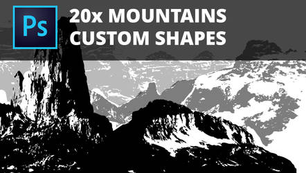 20x Photoshop Mountaains Custom Shapes