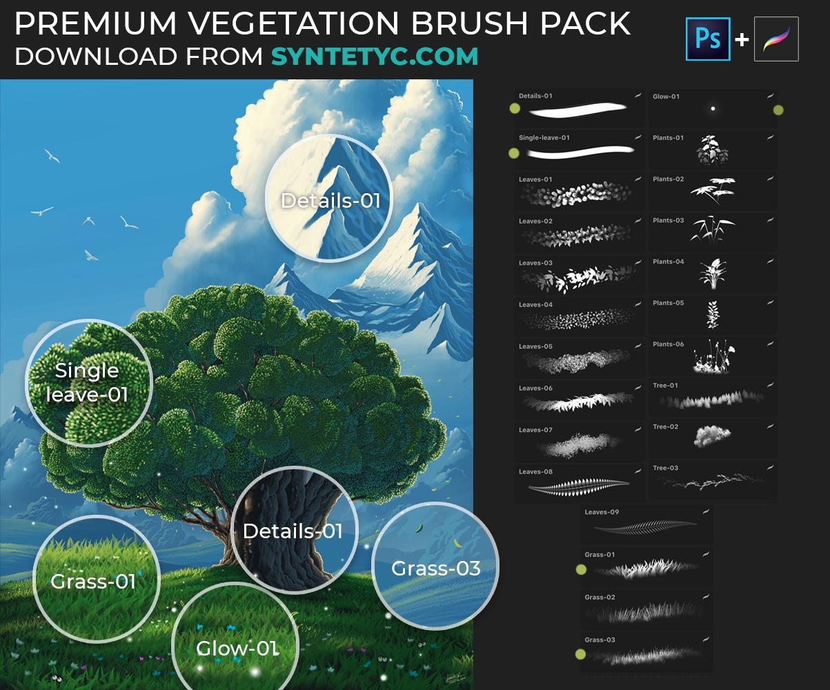 Premium Vegetation Brush Pack example
