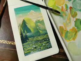 Gouache - Green mountain
