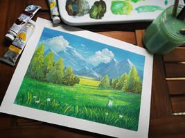 Valley, gouache illustration