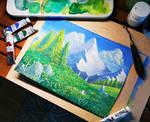 Chibi Meadow - Gouache painting