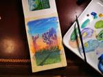 Golden hour, gouache painting