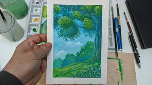 Ghibli inspiration landscape - Gouache painting