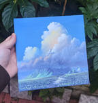 Mountain and clouds - Oil Painting