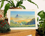 Chibi and mountains - Gouache Painting