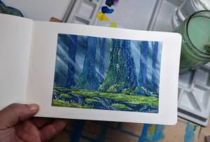 Mononoke Forest inspiration Gouache painting