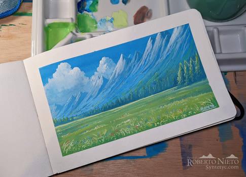 Distant mountains - Gouache painting