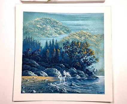 Spirit of the lake - Gouache painting