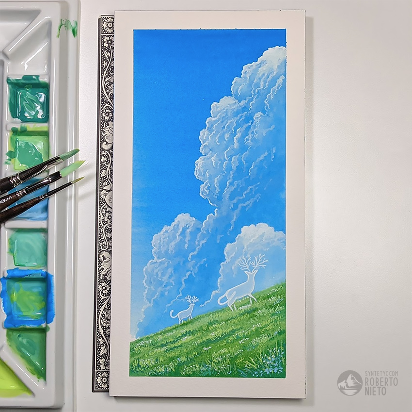 Clouds and spirits - gouache painting