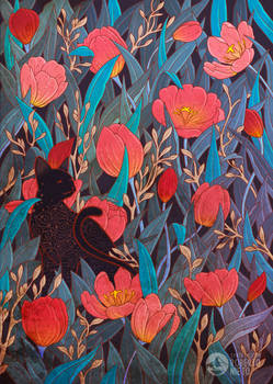 Black cat and tulips