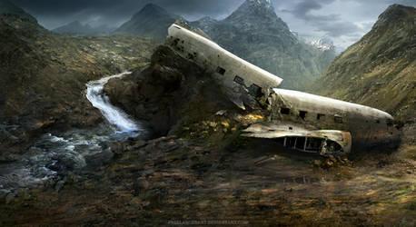 plane wreck by freelancerart