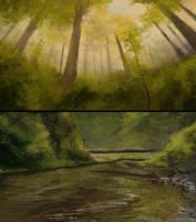 forest speedpaints by ClimbToTheStars