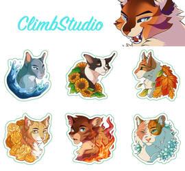Warrior Cat Stickers by ClimbToTheStars