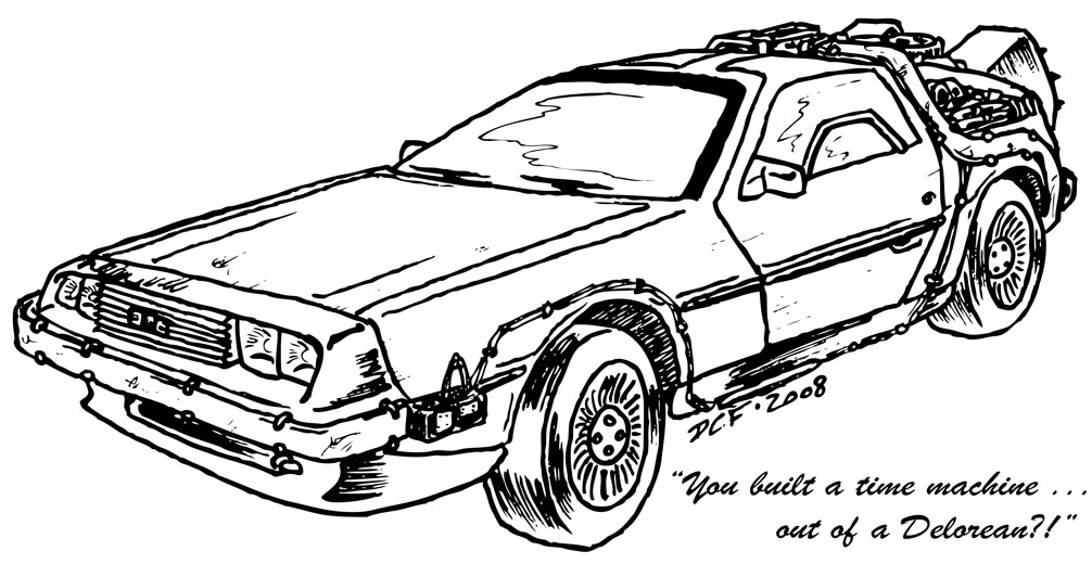 Delorean Free Coloring Pages