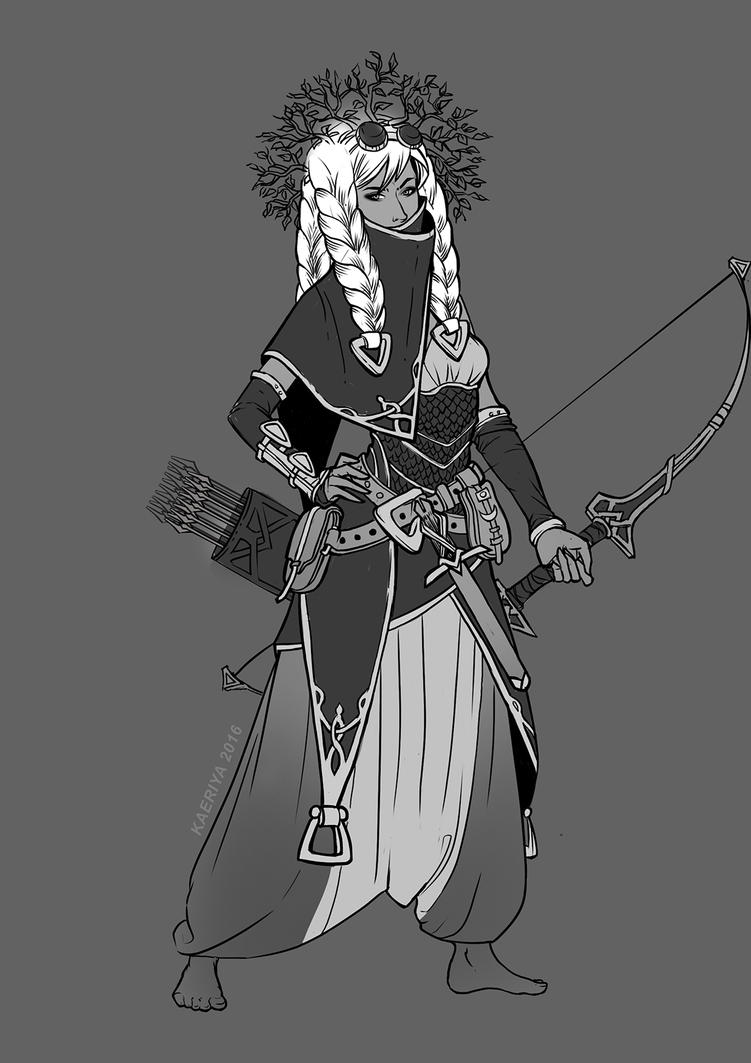 Aspen Tree Archer Costume sketch by Kaeriya