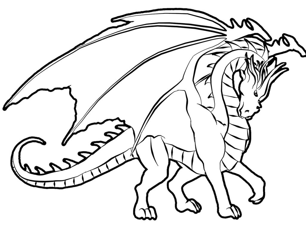 Dragon Lineart by FleetingEmber