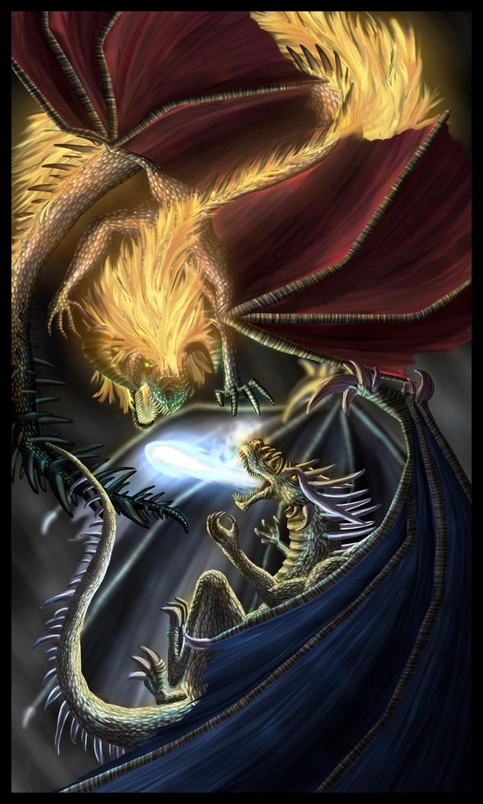Dragon Battle by FleetingEmber